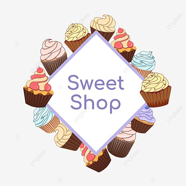 purple cupcake shop diamond border
