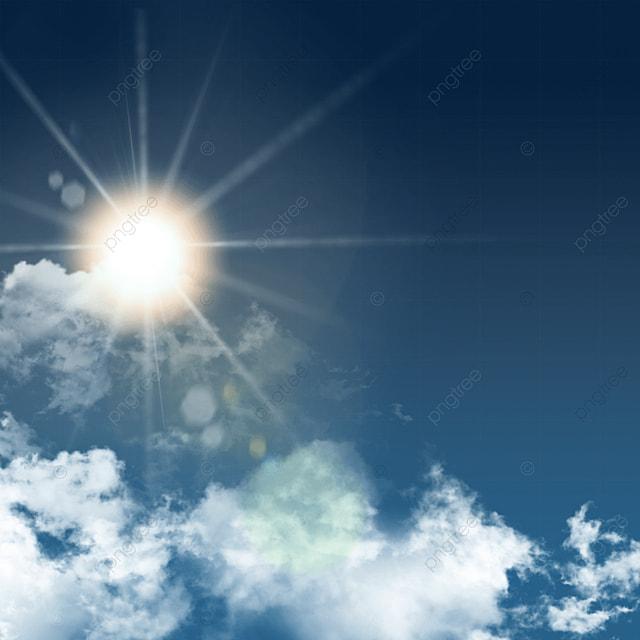 Realistic Blue Sky Clouds Sun Light Effect, Realistic, Blue Sky, Clouds And Sunlight PNG and PSD