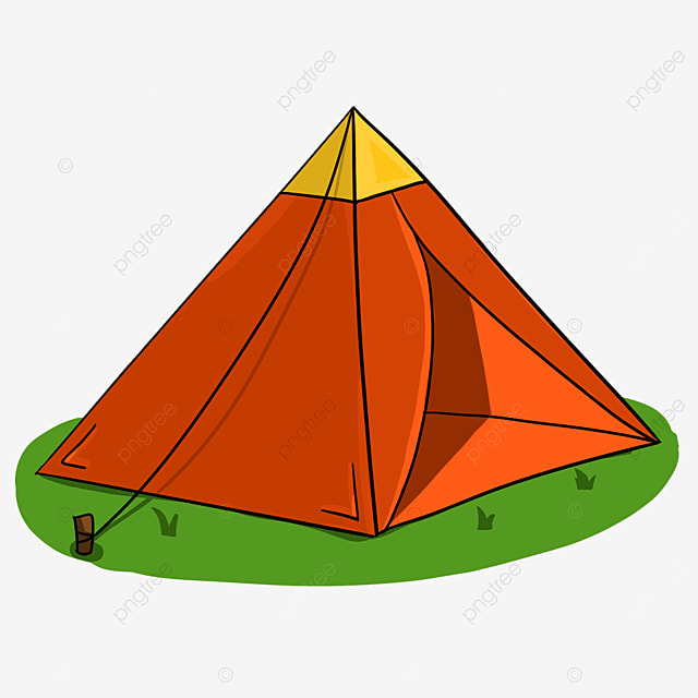 red and yellow contrast color grass tent clip art