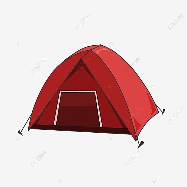 red camping tent clipart