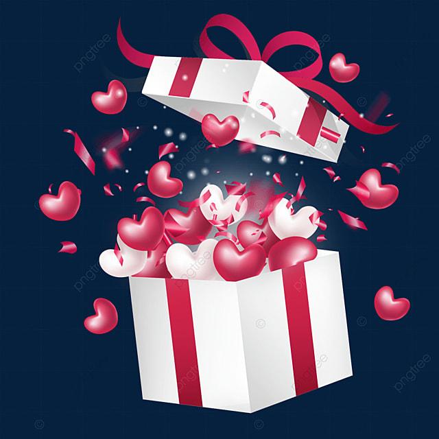 red confetti open valentines day love box