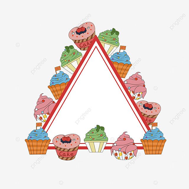 red cupcake shop triangle border