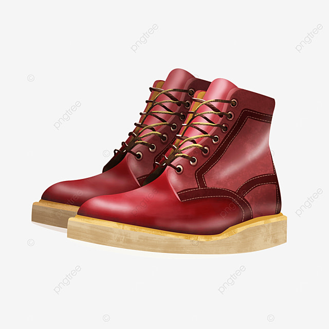 red fashion shoes boots with laces clipart