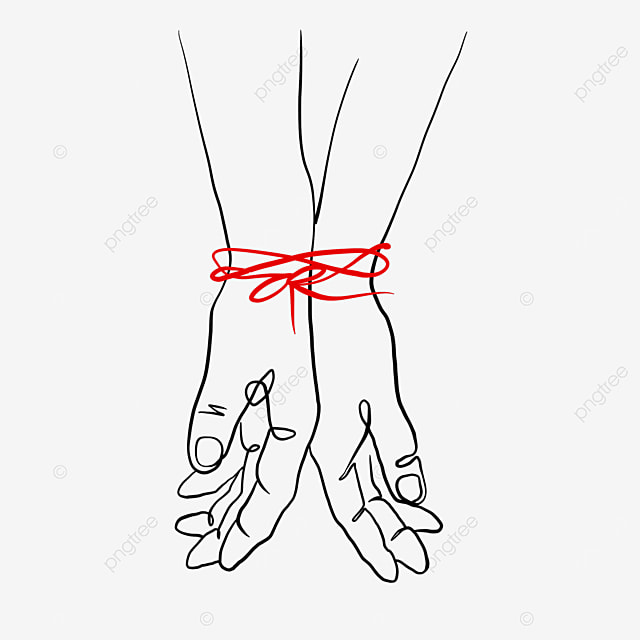 red line connecting wrist valentine line drawing