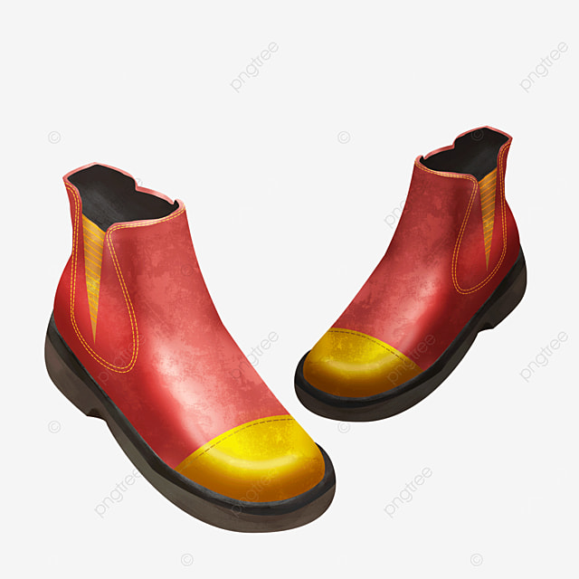 red stitching ankle boots boots clipart