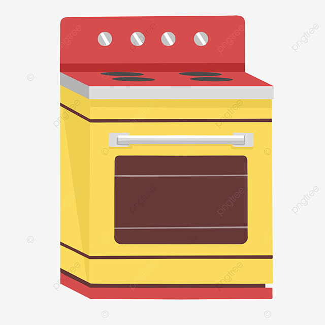 red yellow cartoon oven clipart