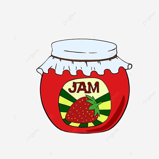 round bottle of strawberry jam clipart