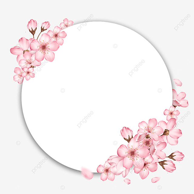 round spring bud pink cherry blossom border