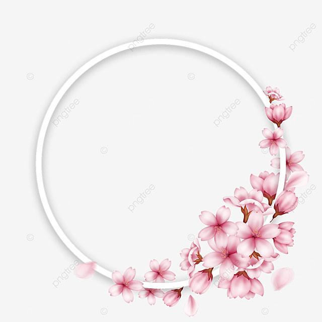 round spring pink cherry petals border