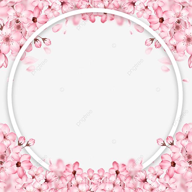 round spring romantic pink cherry blossom border