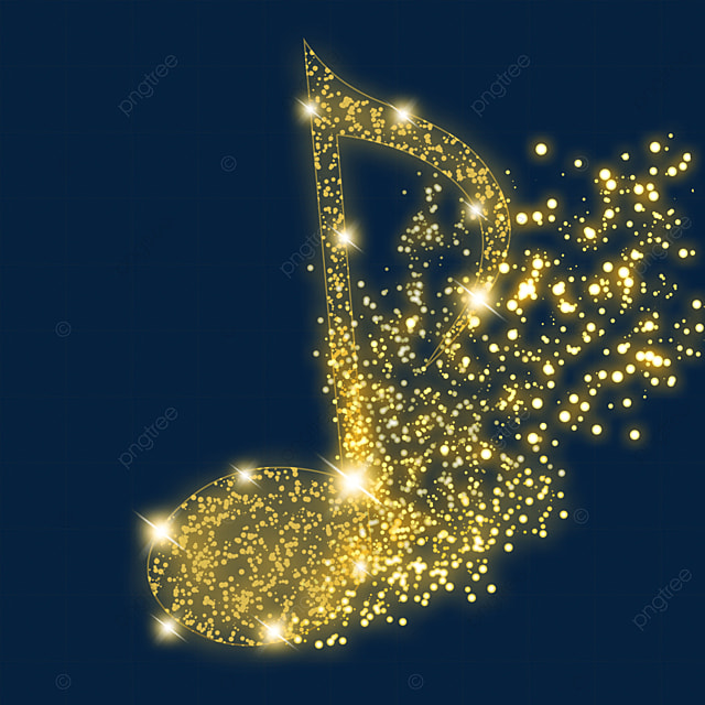 shining eighth note music glow light effect particles