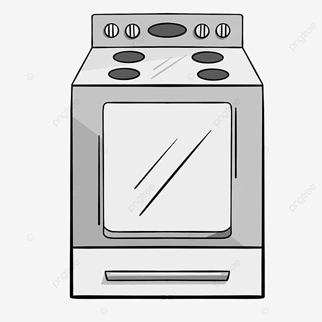 simple oven with gray lines clipart