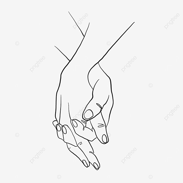 simple ten finger clasped valentines day line drawing