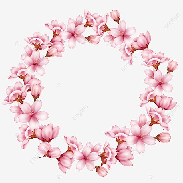 spring cherry blossom pink garland border