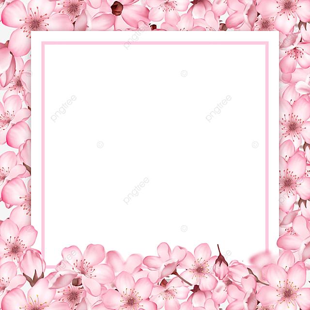 spring pink cherry blossom square border