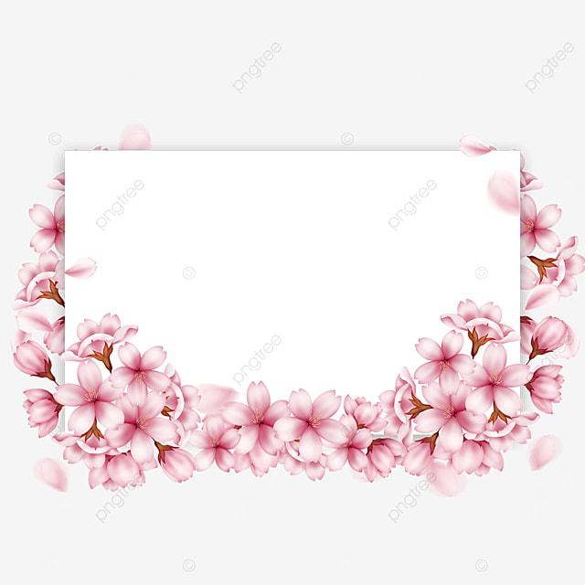 spring rectangular pink cherry blossom border