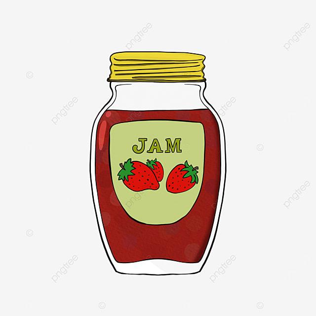 strawberry jam clipart cartoon style