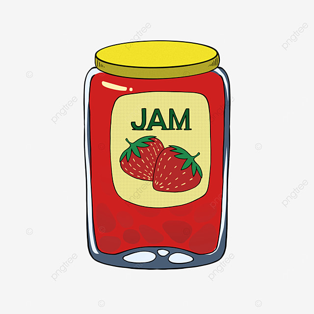 strawberry jam clipart yellow lid