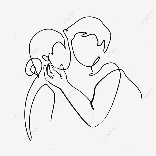 stroked cheek valentine line drawing