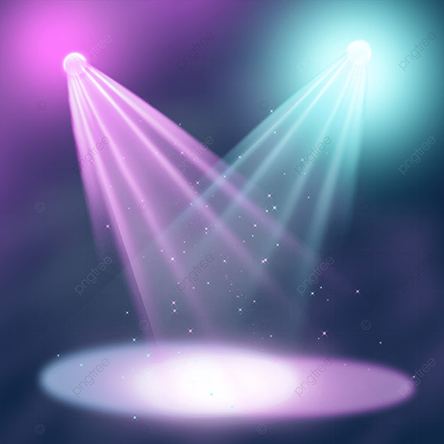 transparent pink and blue stage colored spotlights