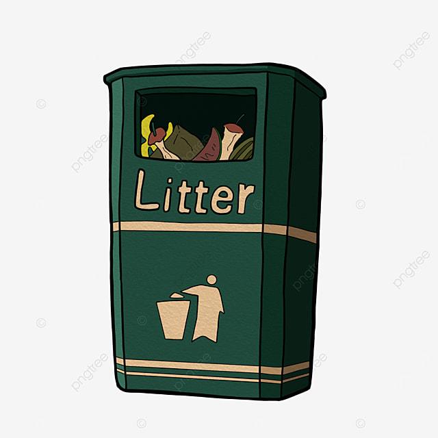 trash can clipart cartoon style