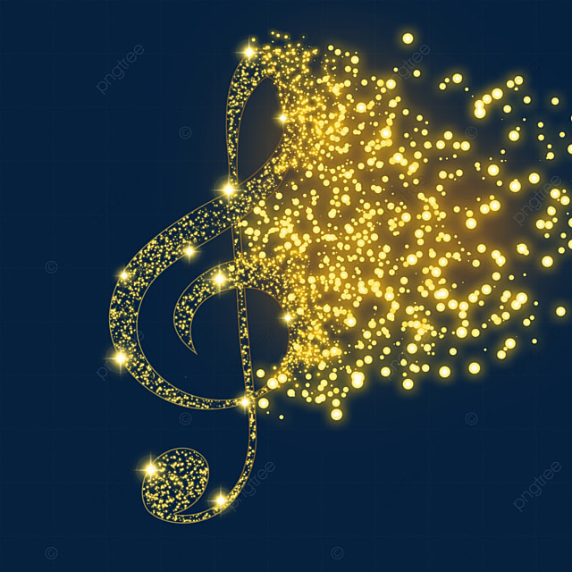 treble clef music glow light effect particles