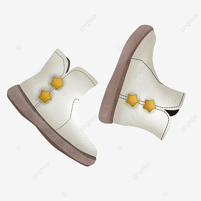white cute star decoration boots clipart