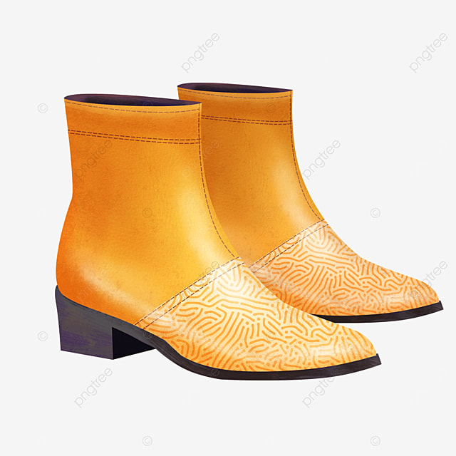yellow bright colors leather shoes boots clipart