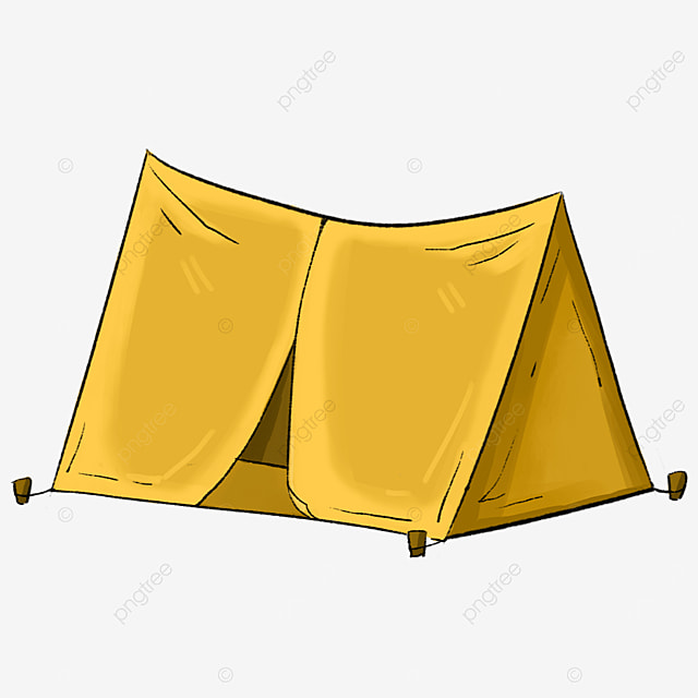 yellow camping tent clipart