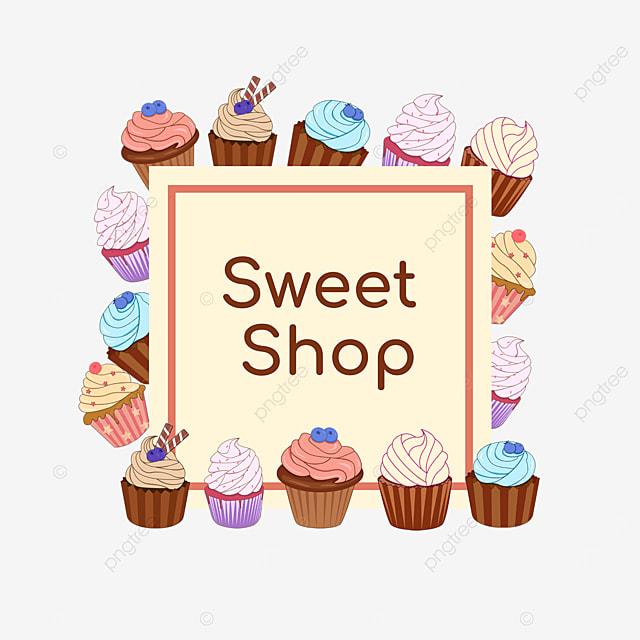 yellow cupcake shop square border