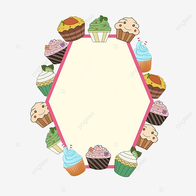 yellow cupcake sweets border