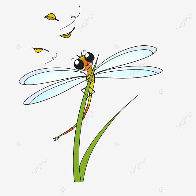 yellow dragonfly observing fallen leaves clipart