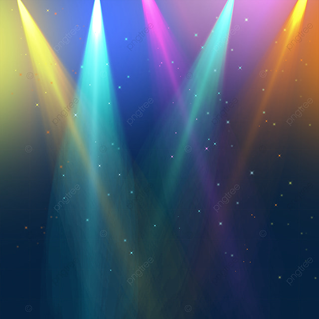 shining rainbow color stage colored spotlight
