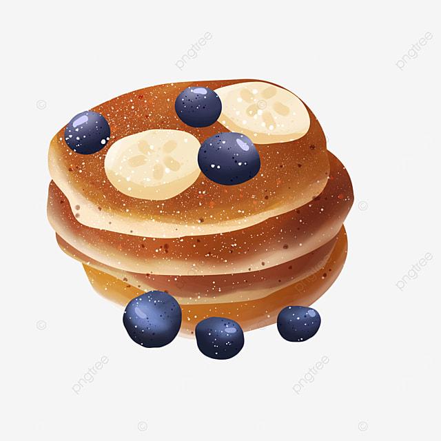 banana blueberry fruit delicious pancake clipart