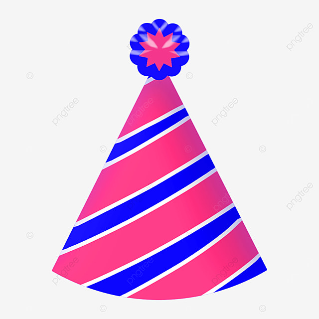 blue and purple diagonal stripes birthday party hat clipart