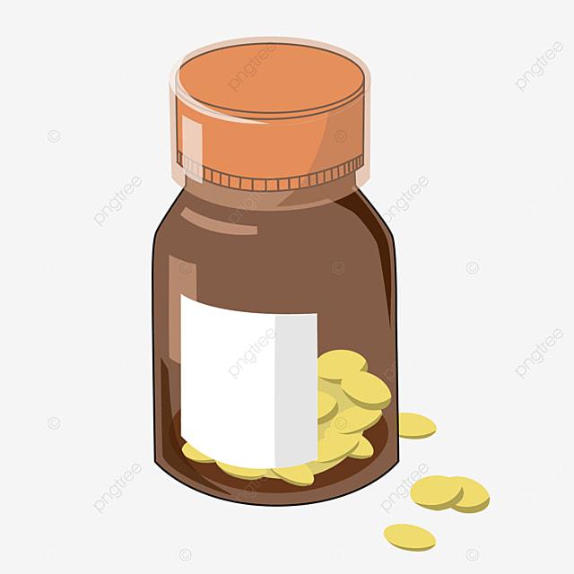 brown transparent medicine bottle clipart