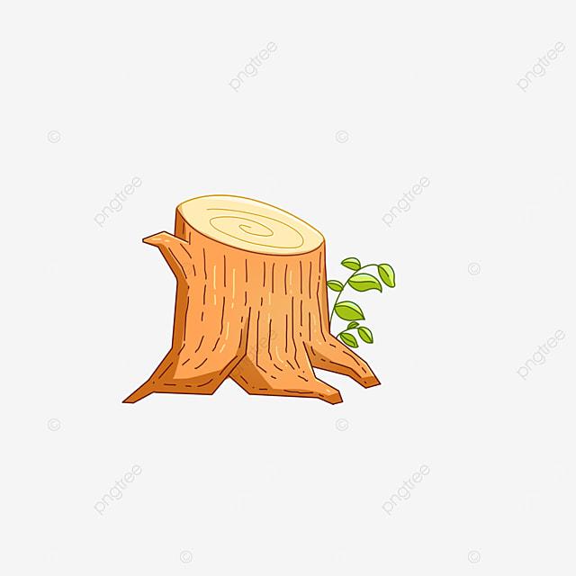 cartoon yellow tree stump wood clipart