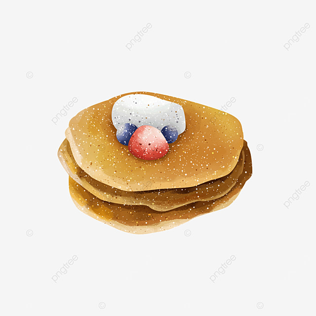 delicious gourmet pancakes with cream berries clipart