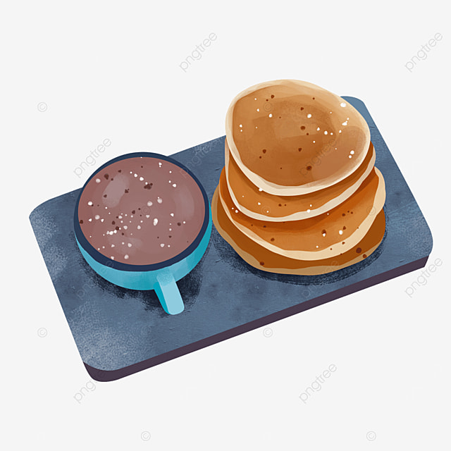 delicious pancakes in blue cup with hot cocoa clipart
