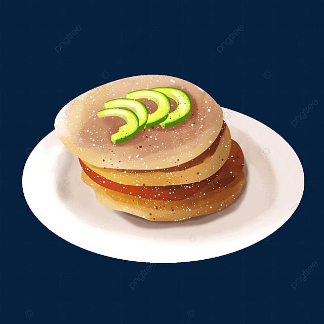 delicious pancakes with avocado slice clipart