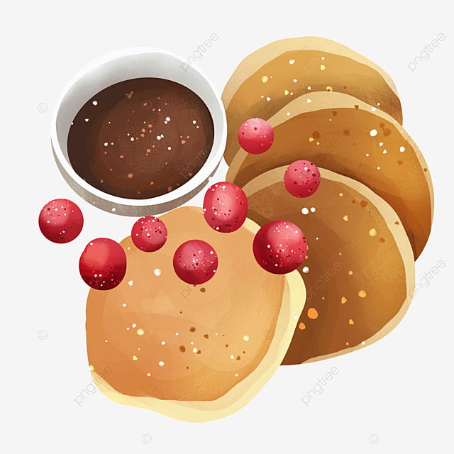 delicious pancakes with chocolate sauce and berries clipart