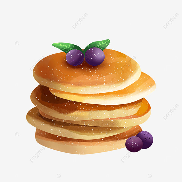 delicious snack pancakes with blueberries green leaves clipart