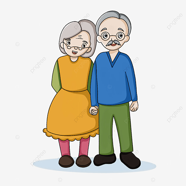 elderly holding hands clipart