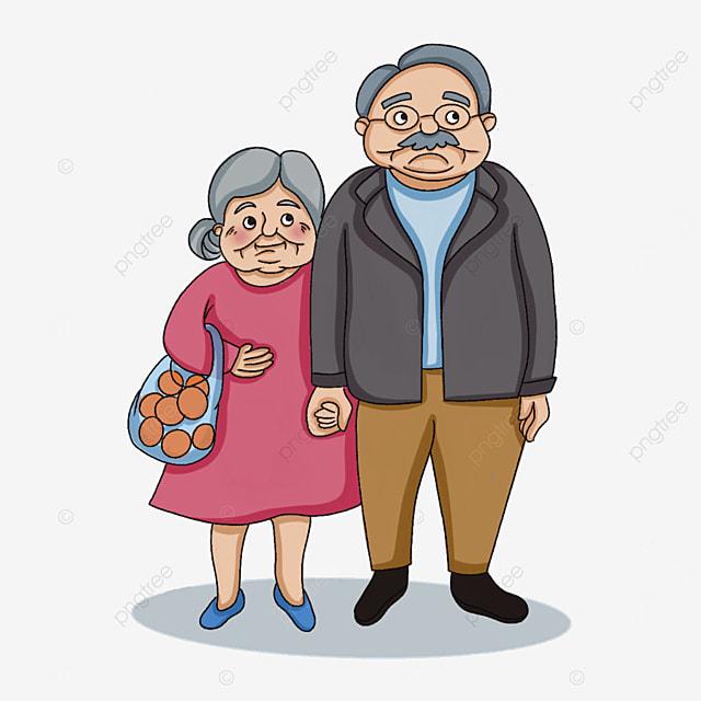 elderly man carrying fruits clipart