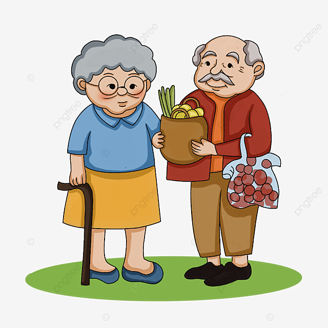 elderly man holding a cane and fruit clipart