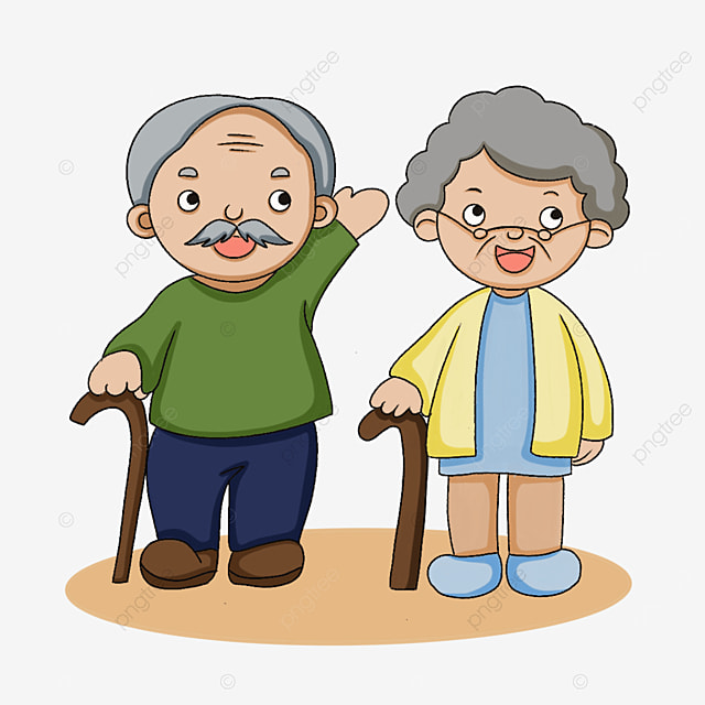 elderly man holding a walking stick clipart