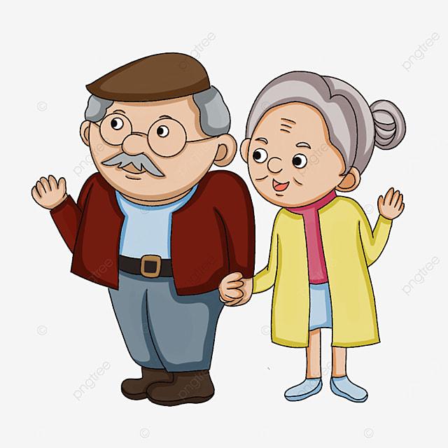 elderly people saying hello clipart