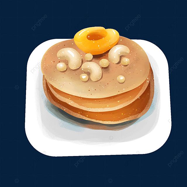 nuts peaches food pancakes clip art