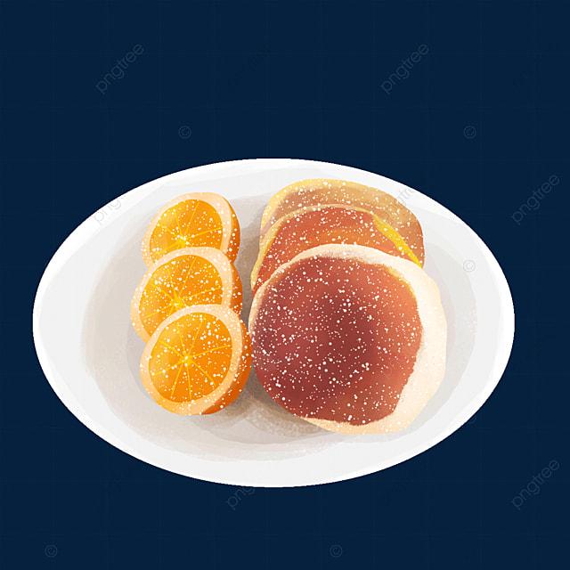 orange fruit pairing gourmet pancakes clipart