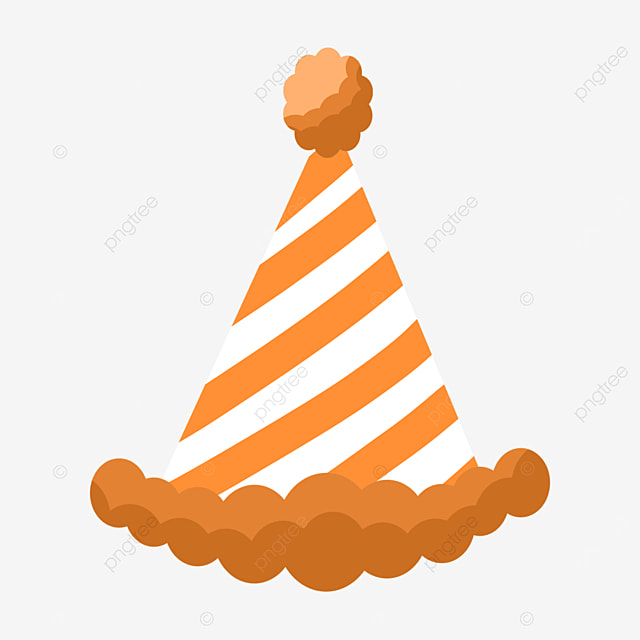 orange striped raw edge birthday party hat clipart